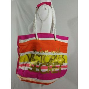 Victoria Secret in love with pink canvas tote bag